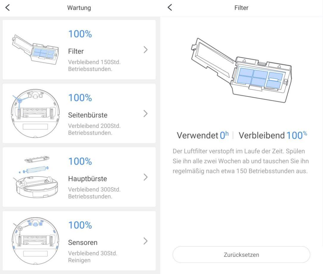 Roborock S7 Saugroboter Wartung Ersatzteile austauschen Xiaomi Home App