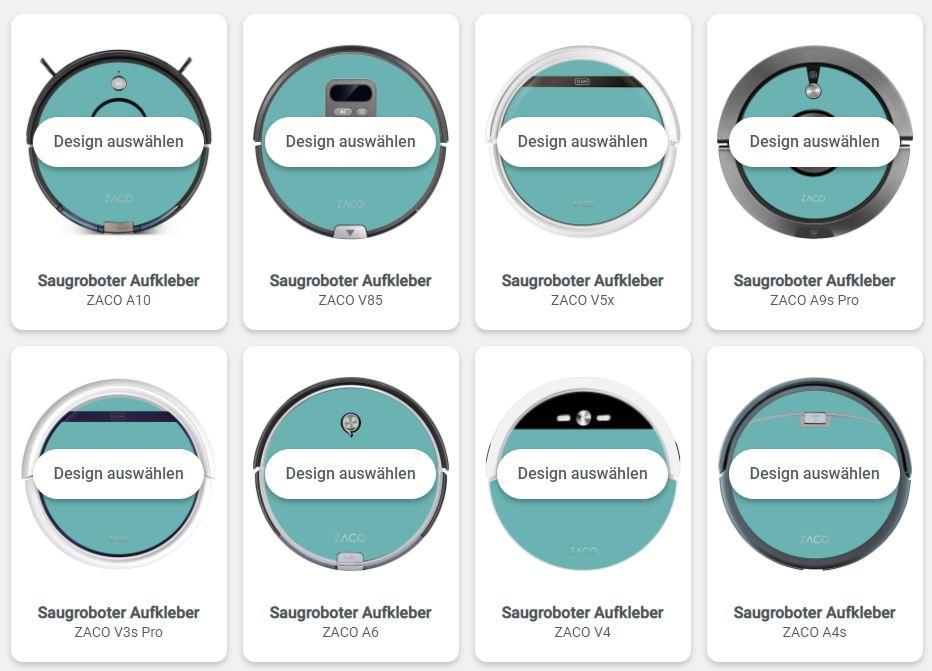 ZACO Saugroboter Sticker Aufkleber Design Modell wählen Caseable