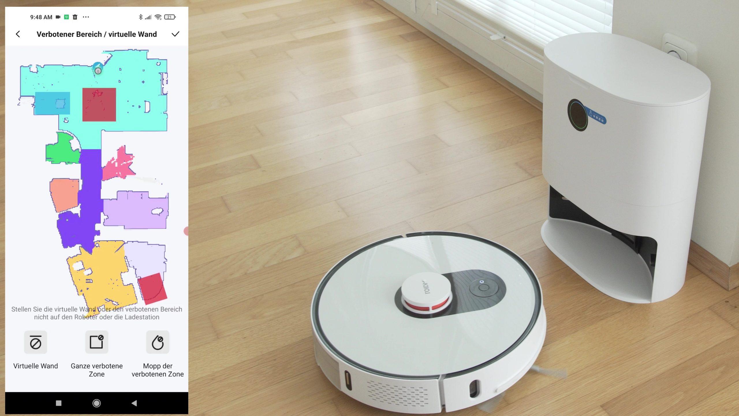 Roidmi EVE Plus Saugroboter No-Go-Zonen virtuelle Waende Nicht-Wisch-Zonen